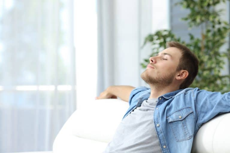 Man At Home Breathing Comfortably