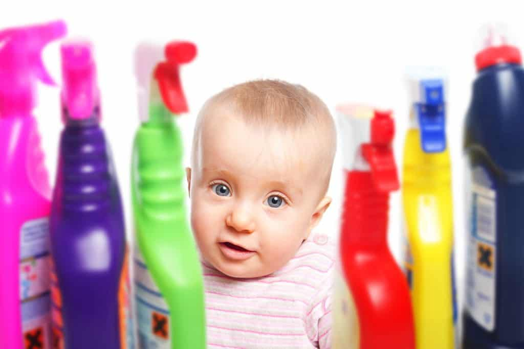 Baby with toxic chemicals in home
